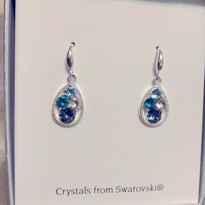 Swarovski crystal earrings in silver setting, new